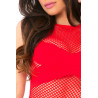 Body string rouge résille filet bandes opaques - PLK20025-RED