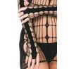 Robe noire libertine filet accroches doigts - PLK25095-BLK