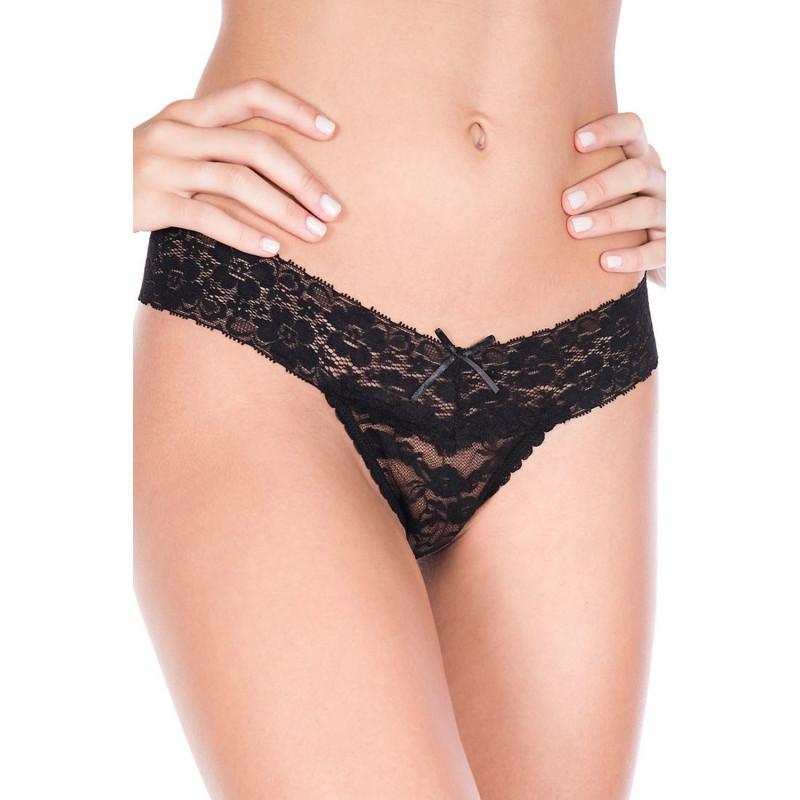 String brésilien sexy noir dentelle - ML10008BLK