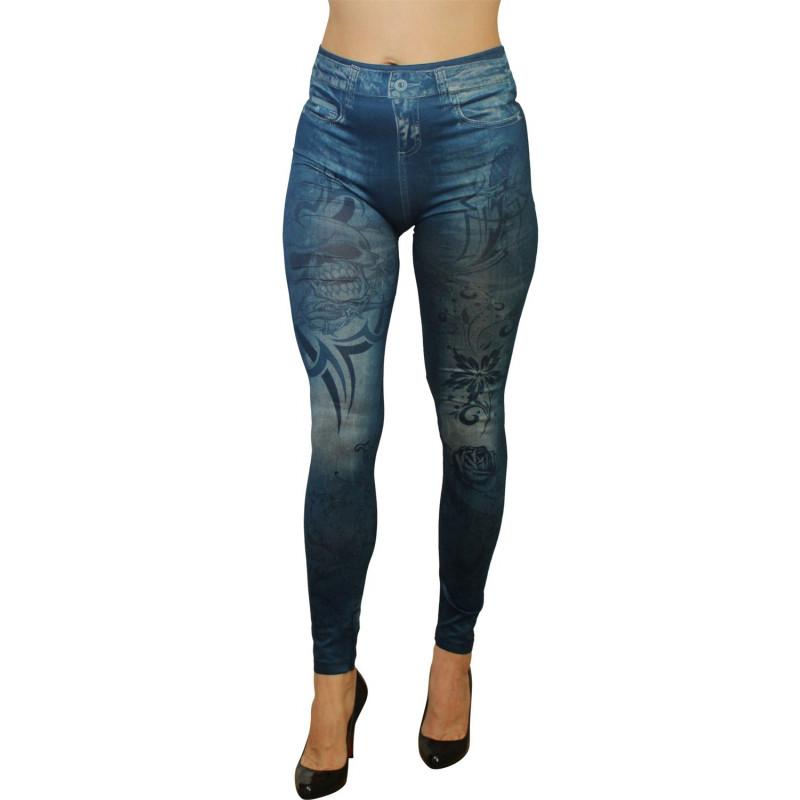 Legging bleu effet jean imprimé style tatouage - FD1019
