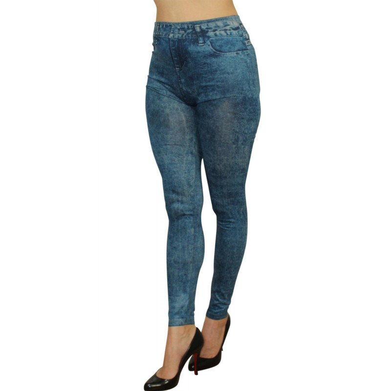 Legging bleu effet jean délavé - FD1016