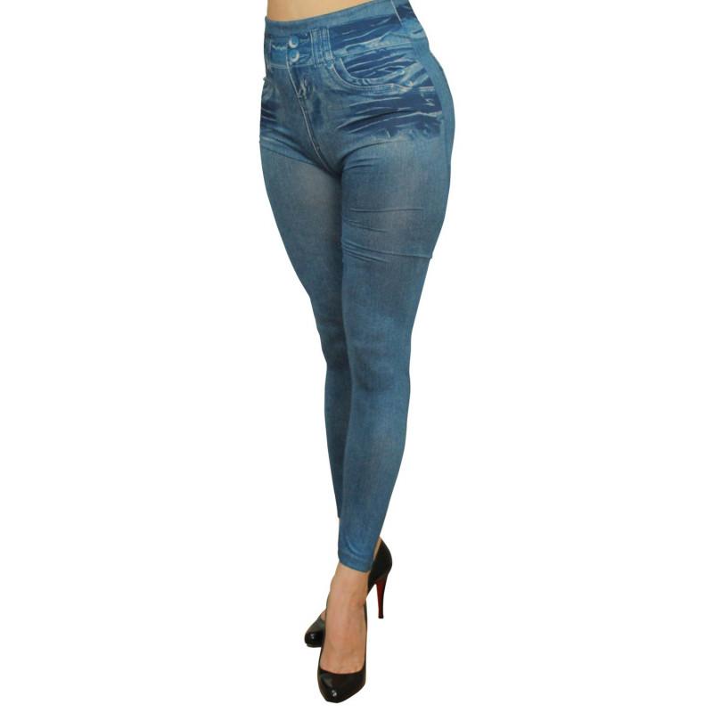 Legging bleu effet jean usé - FD1014