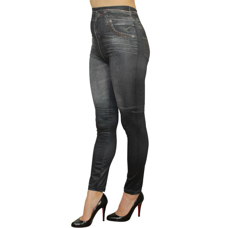 Legging noir style jean usé délavé avec poches - FD1010