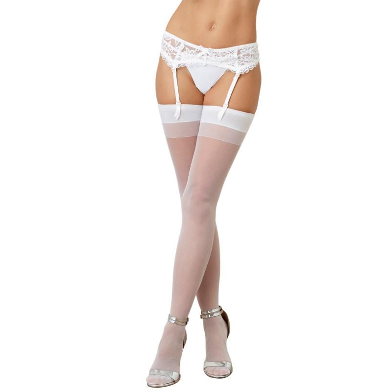 Bas nylon blancs coutures pour jarretelles - DG0007WHT