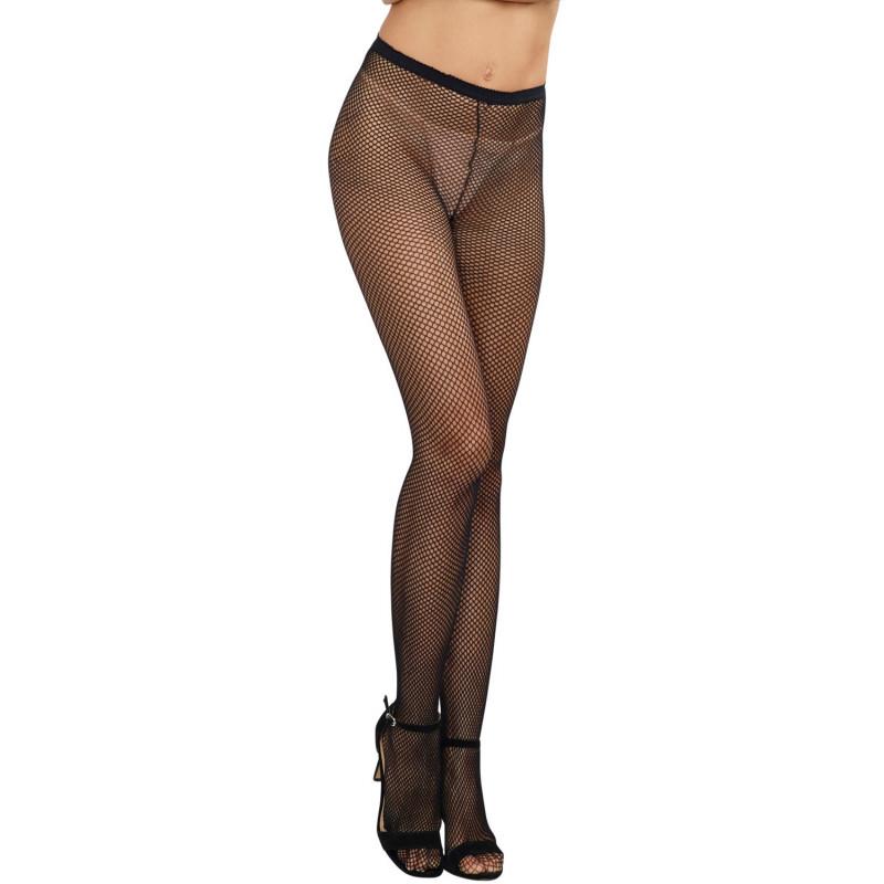 Collant couture nylon noir fine résille - DG0011BLK