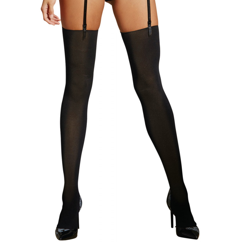 Bas nylon noir opaques sans couture pour jarretelles - DG0277BLK