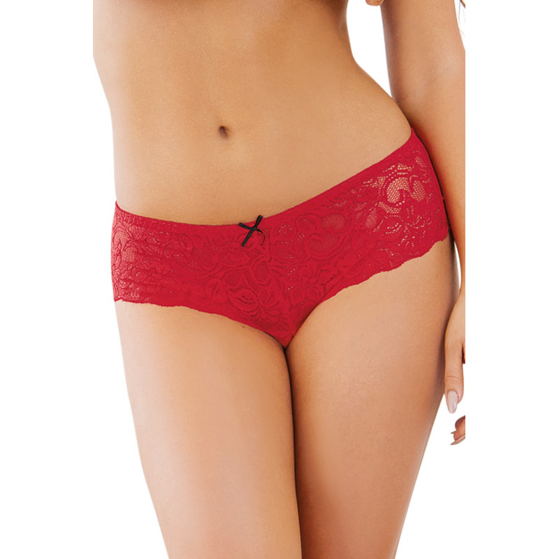 Shorty ouvert rouge court en dentelle - DG7177RUB