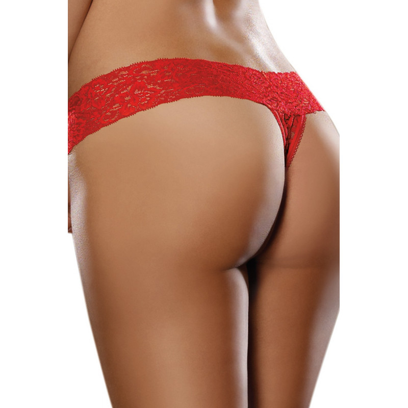 String brésilien rouge dentelle - DG1376RED