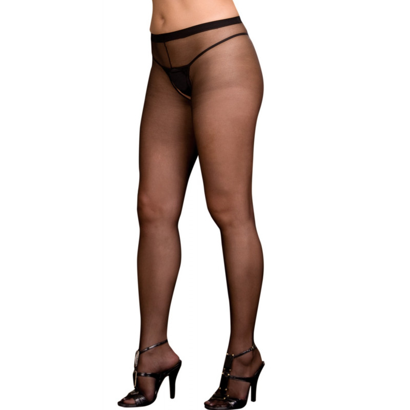 Collant noir grande taille nylon ouverture à l'entre-jambes et sur les fesses - DG0082XBLK