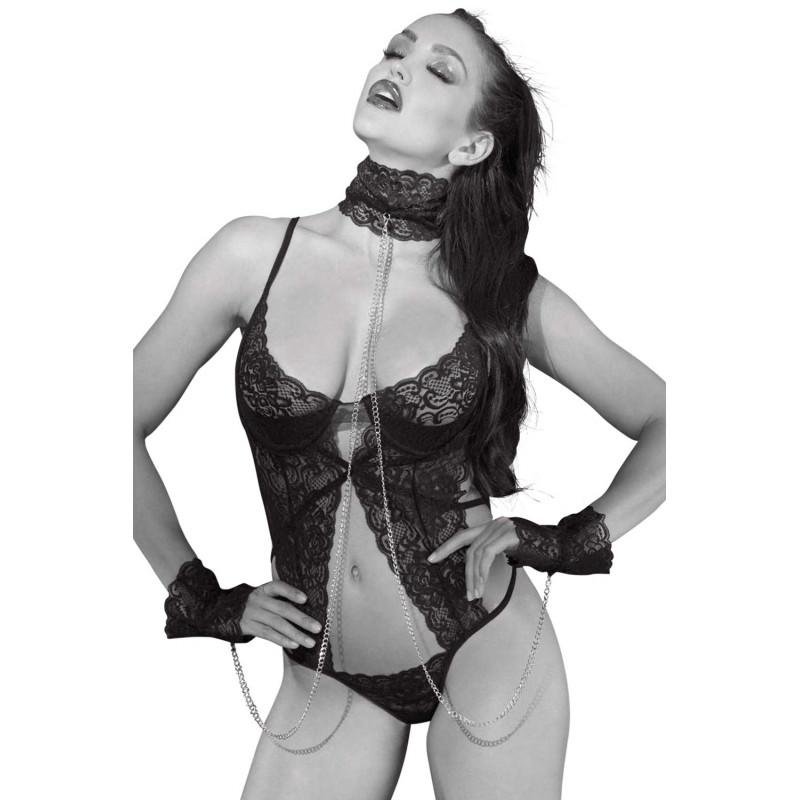 Body string armatures push-up avec collier menottes et chaînes - SOH2152bBLK
