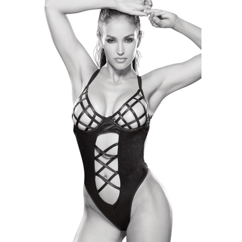 Body sexy noir ajouré avec croisillons élastiques - SOH2160bBLK