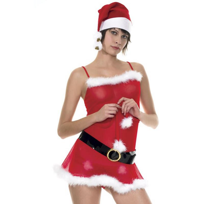 Robe de mère Noël avec ceinture et bonnet - ML70030