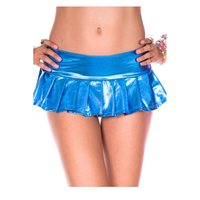 Mini-jupe bleue métallique - ML153BLU