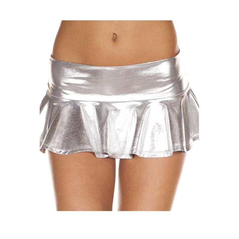 Mini-jupe argentée métallique - ML153SIL