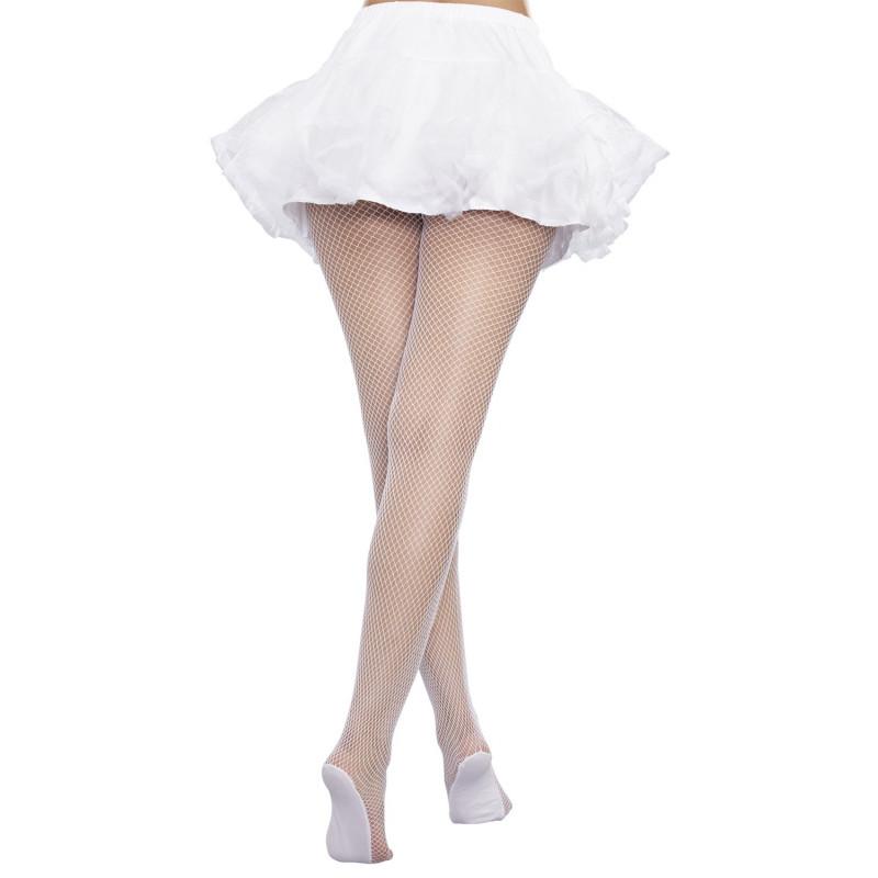 Collant résille blanc avec pieds renforcés - DG0257HWHT