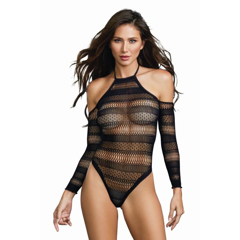Body string ajouré à motifs et épalues nues - DG11287BLK
