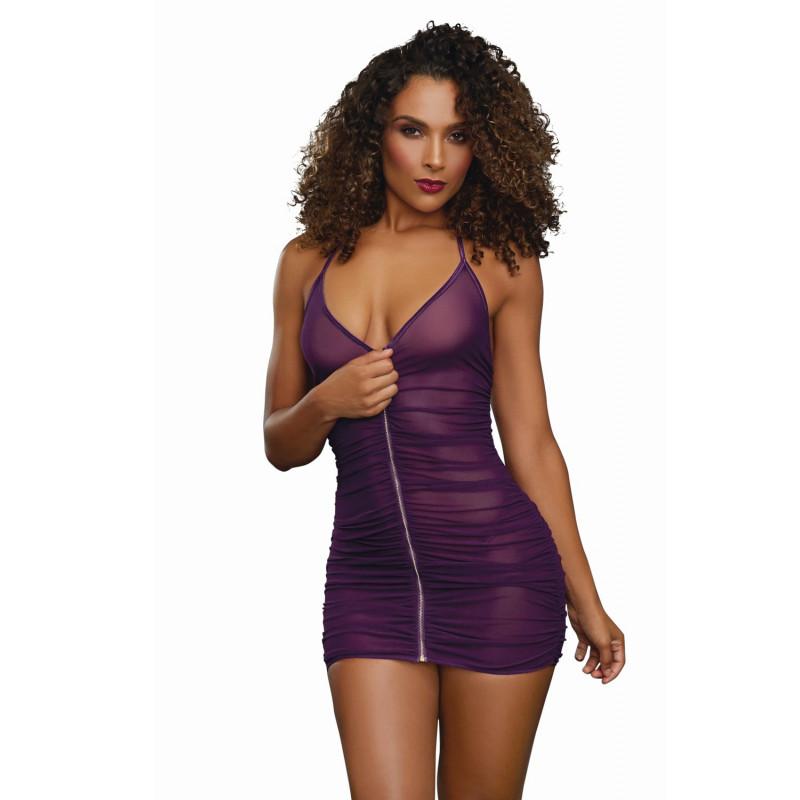 Nuisette violette froncée avec zip - DG11517PLU