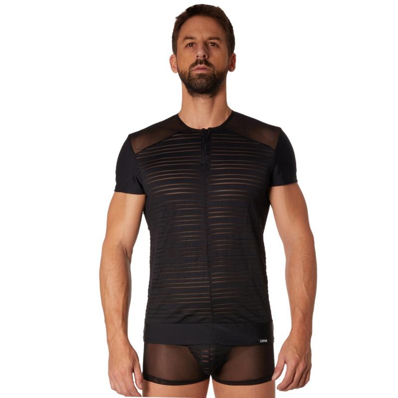 T-shirt noir rayé opaque et transparent - LM906-81BLK