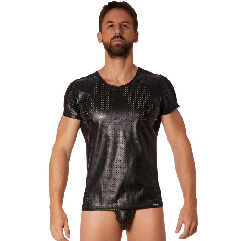 T-shirt noir simili cuir finement ajouré - LM811-81BLK