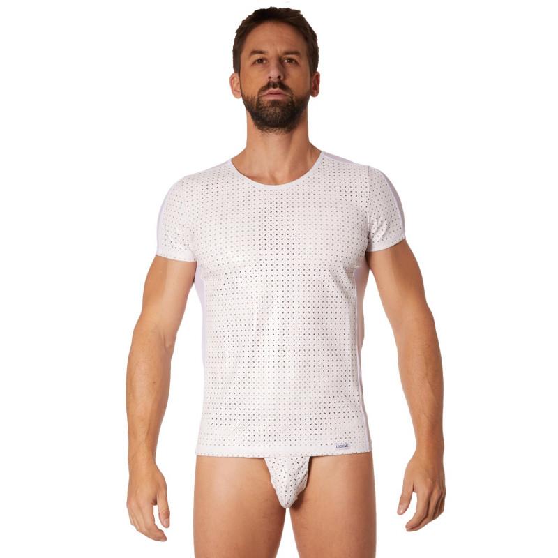 T-shirt blanc simili cuir finement ajouré - LM811-81WHT