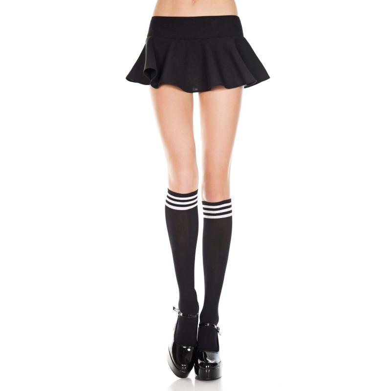 Chaussettes montantes noires avec bandes blanches - MH5736BLK