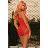 Robe asymétrique rouge sexy et ajourée - SOH90410RED