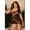Robe asymétrique noire sexy et ajourée - SOH90410BLK