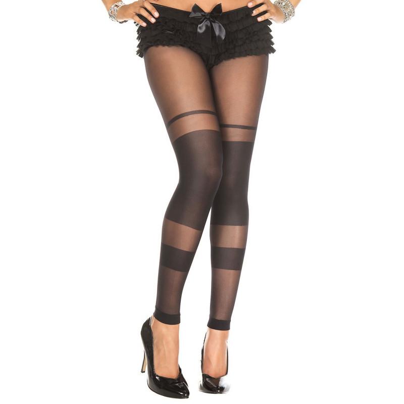 Collant noir sans pied bandes opaques - MH35011BLK