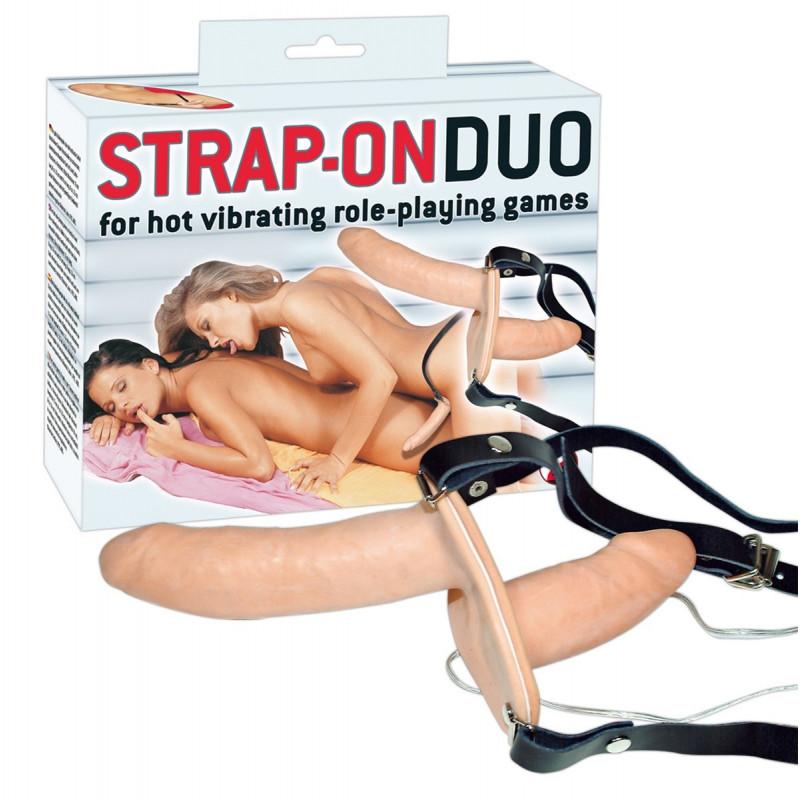 Double gode ceinture vibrant Strap-On Duo
