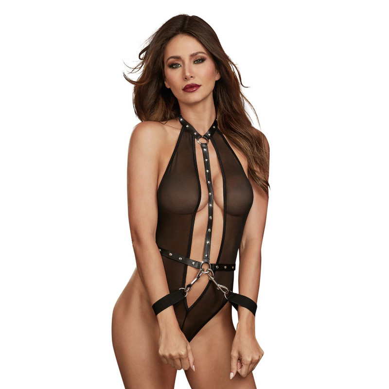 Body en filet extensible avec garnitures cloutées en simili cuir - DG11853BLK