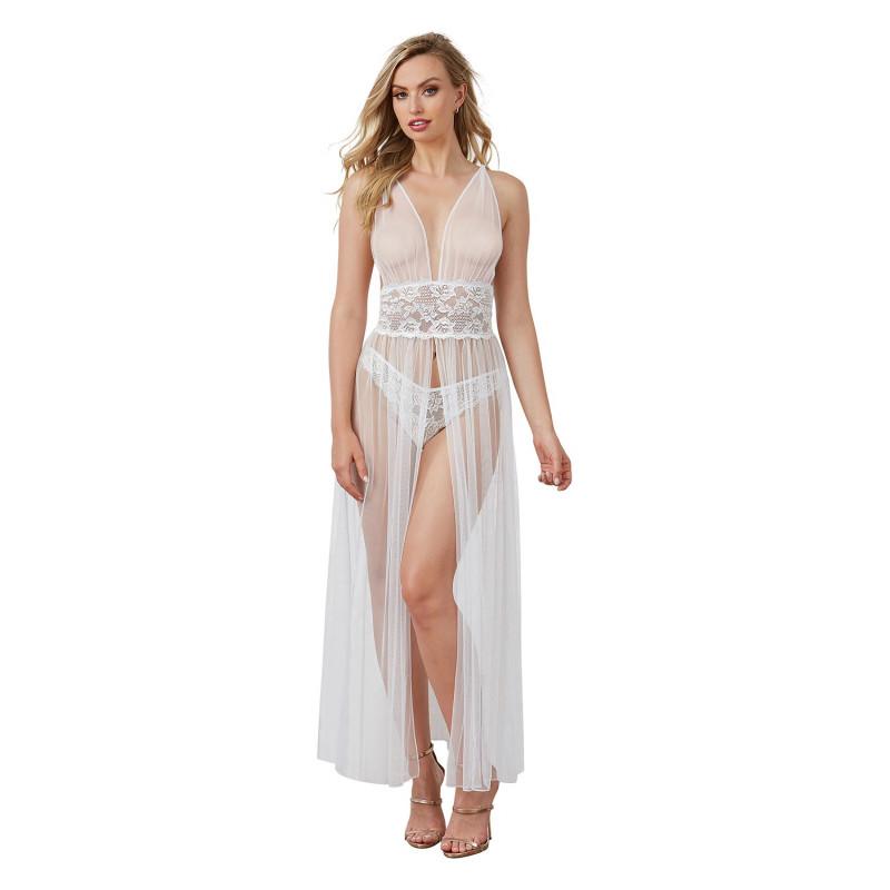 Robe nuisette transparente blanche en dentelle et fine résille - DG11849WHT