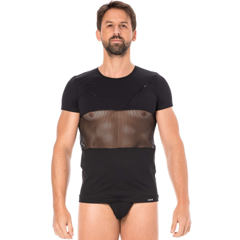 T-shirt noir filet - LM2004-81BLK