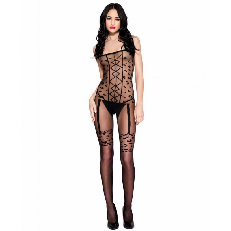 Bodystocking imprimé léopard - ML1633BLK