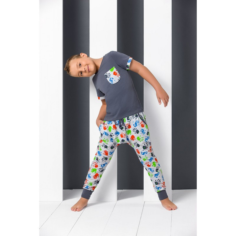 Pyjama junior manches courtes empreintes de mains