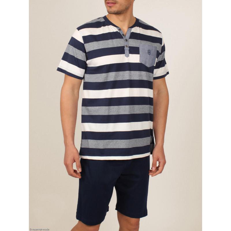 Tenue d'intérieur pyjama short t-shirt Greece bleu ADMAS For Men 54038AD