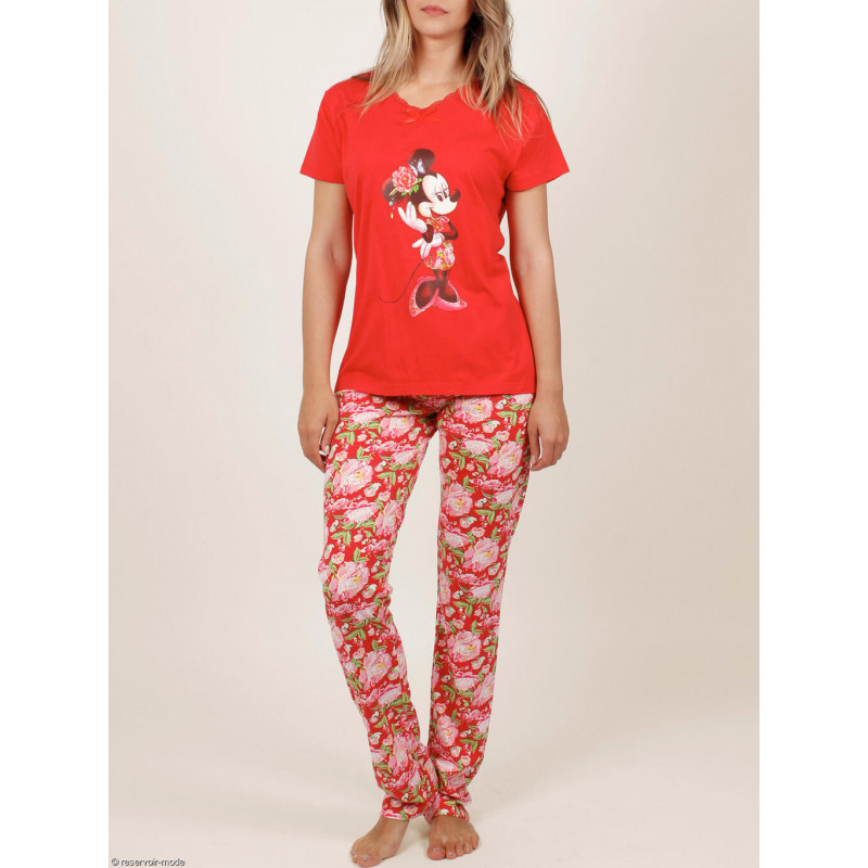 Tenue d'intérieur pyjama pantalon t-shirt Minnie China Disney rouge ADMAS Woman 54340AD