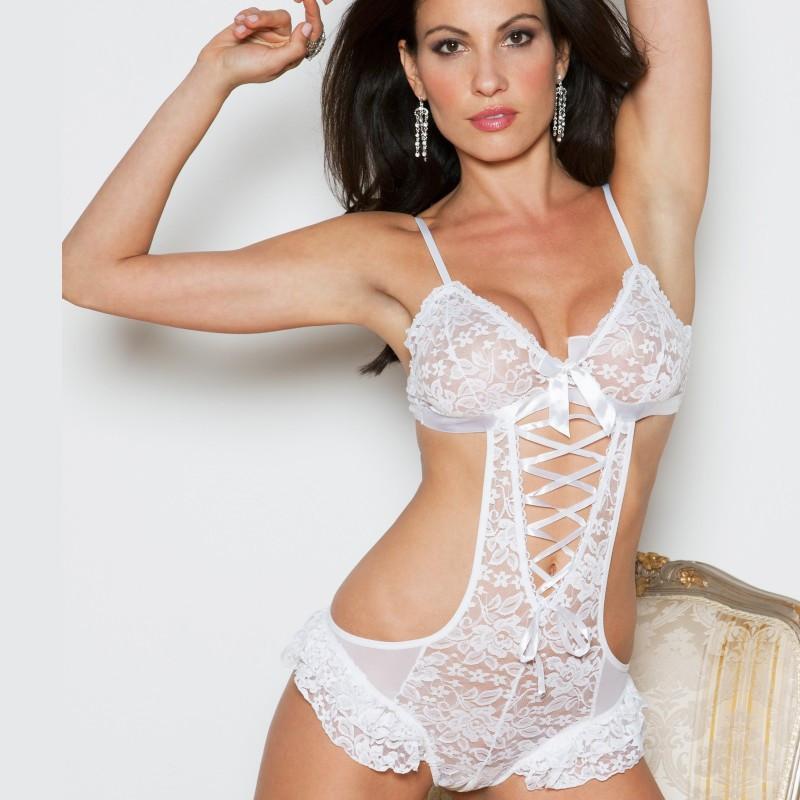 Body lacé blanc