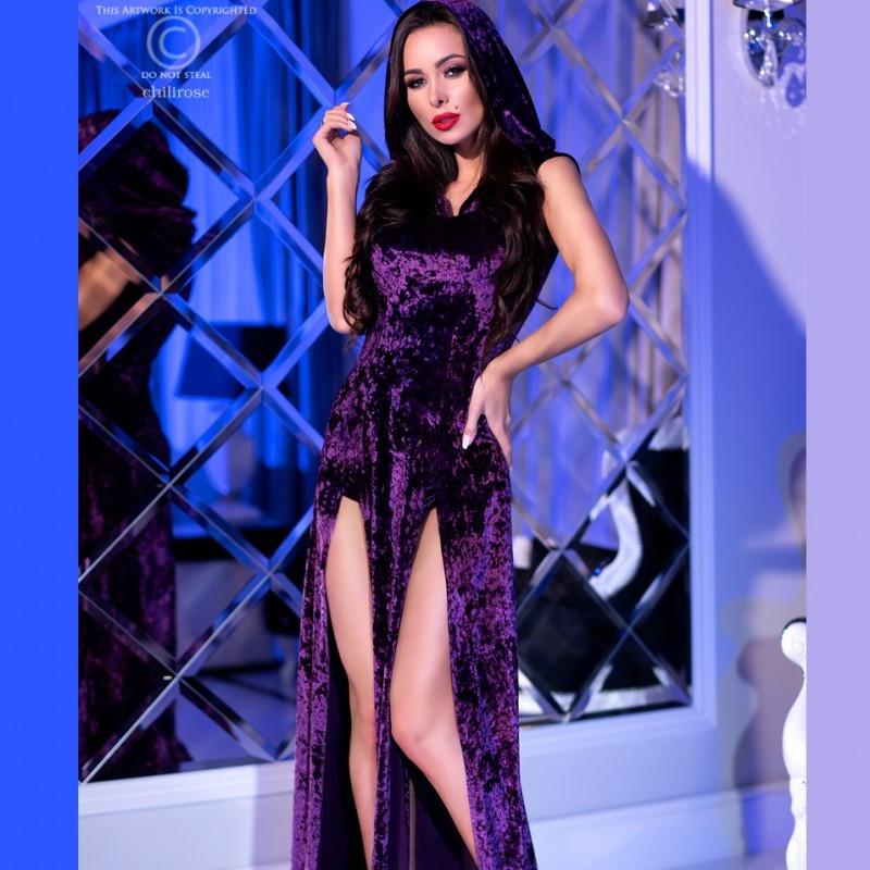 Robe fendue velours violet