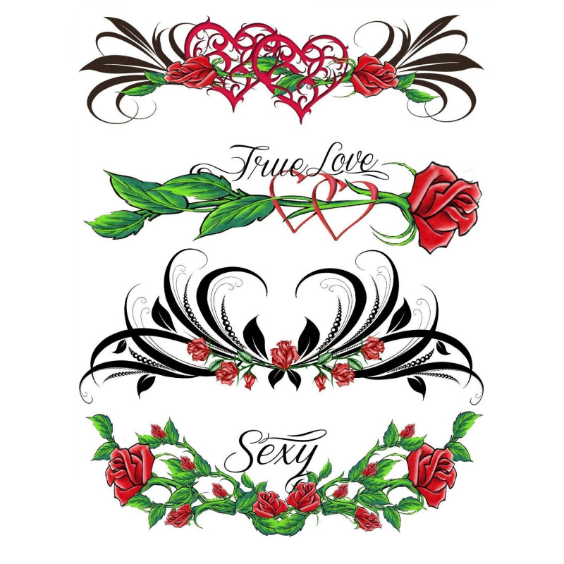 Tatouage éphémère - Plaque de 4 tattoos  - TATribal 4