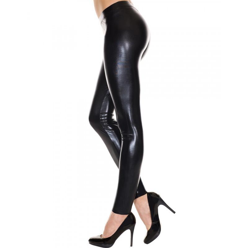 Leggings noir brillant effet simili cuir - MH35112BLK