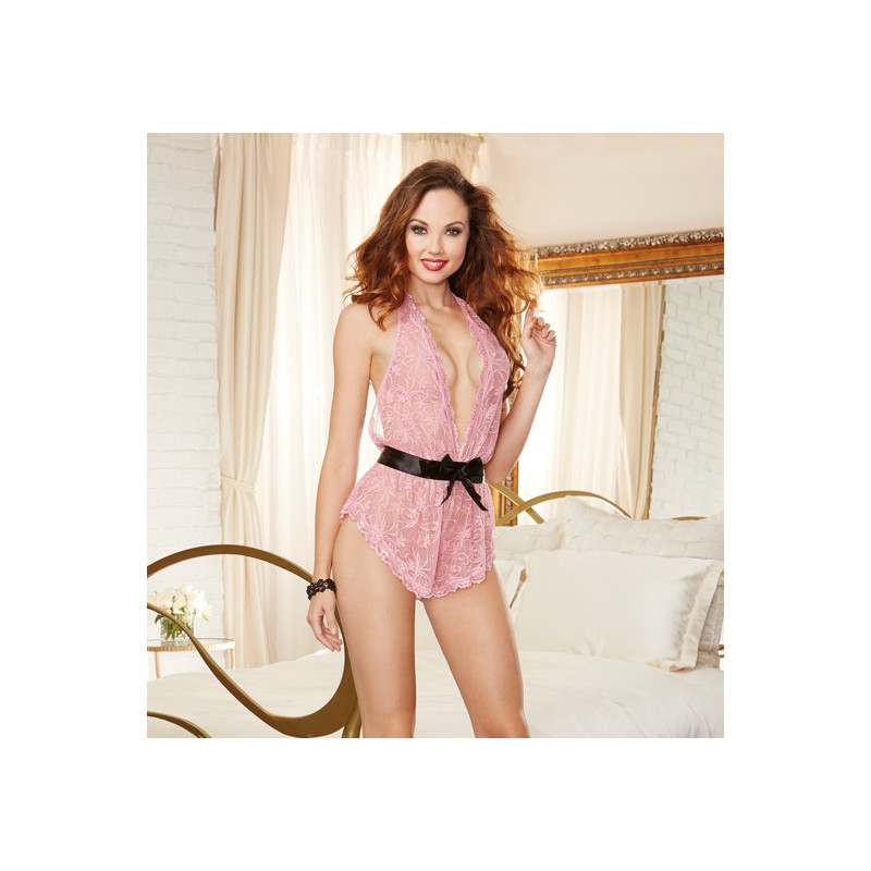 Body ample tour de cou dentelle stretch - DG10153PNK