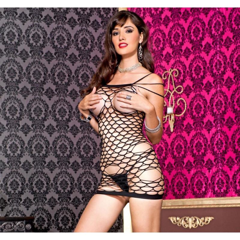 Mini robe triples bretelles  en résille moyennes et grosse mailles  ouverte poitrine - ML6368BLK