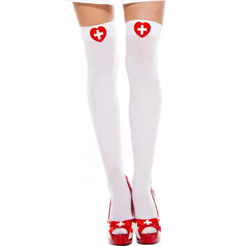 Bas sexy blancs d'infirmière - MH4648WHR